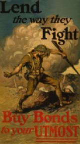 "Vintage America WW1 poster ""Lend the way they fight"""